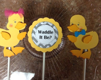 Waddle It Be Gender Reveal Cupcake Pokes