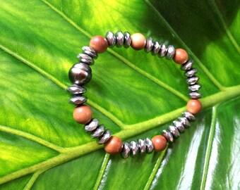 Tahitian Pearl, woman bracelet hippie chic style, stretch bracelet, mala beads