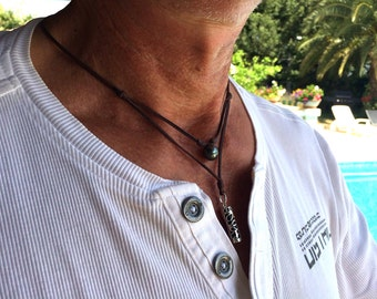 Tahitian pearl and Tiki on Australian leather, necklace for men, genuine tahitian pearl and solid silver tiki.