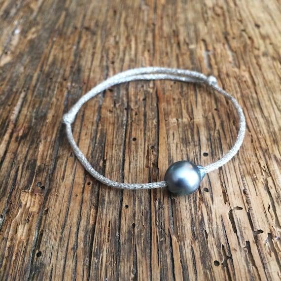 Tahitian pearl, Tahitian pearl bracelet on japanese silver cord. Woman bracelet.