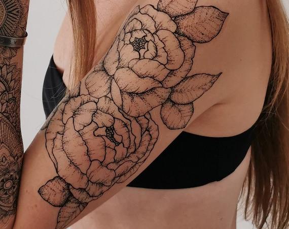 Peony Sleeve - Temporary Tattoo - Extra Large