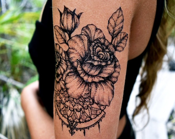 Rose with Mandala - Temporary Tattoo - Medium