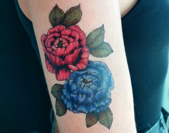 Peonies - Temporary Tattoo - Small - Mauve & Violet