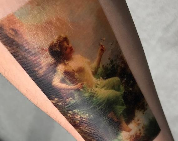 "Classical Art Fairy Maiden Temporary Tattoo - Hans Zatzka, ""Edelweiss la Foret"""