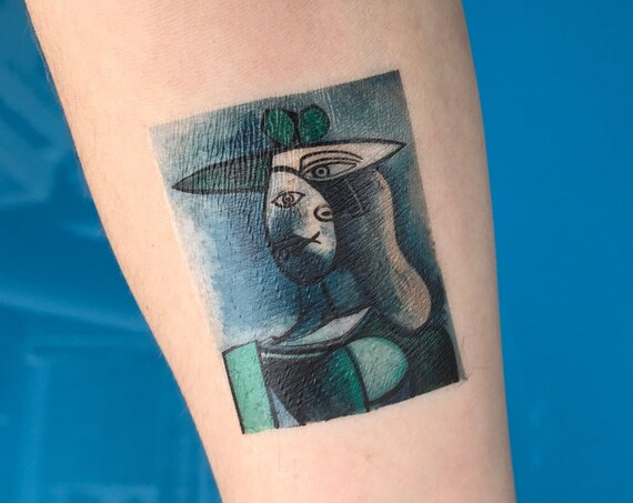 "Picasso Portrait Fine Art Temporary Tattoo - ""Woman in a Green Hat"""