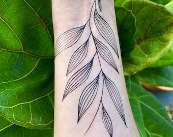 Palm Leaf - Temporary Tattoo - Large