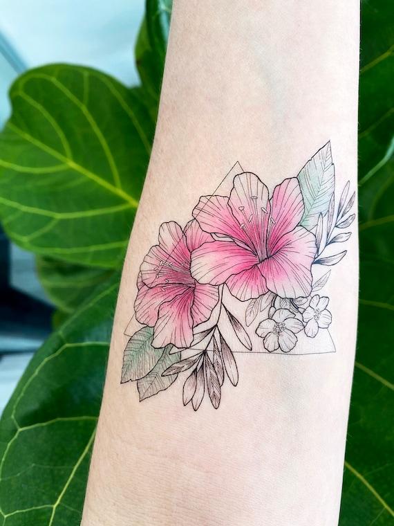 Pink Azaelias - Temporary Tattoo - Small