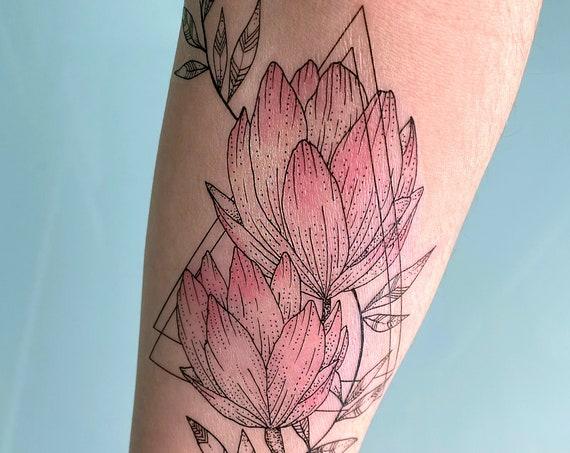 Floral Geometric - Temporary Tattoo - Medium