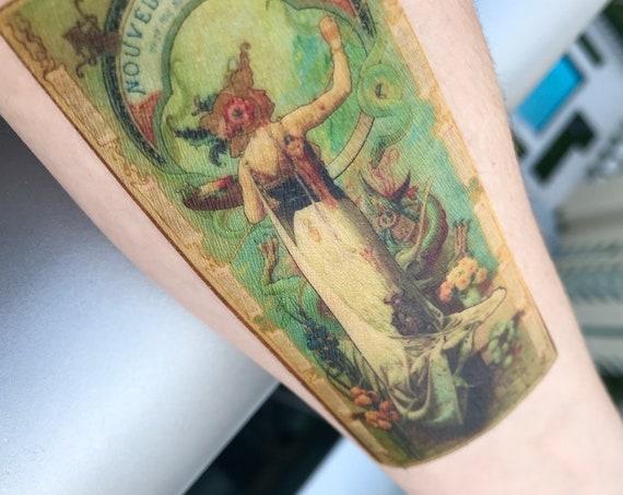 Art Nouveau Temporary Tattoo - Louis-Théophile Hingre