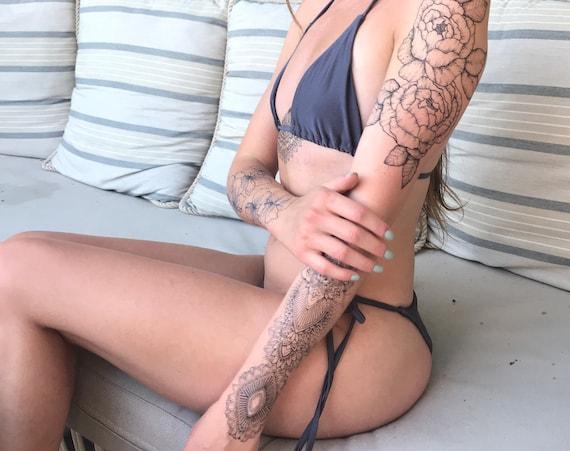 Set of 2: Floral + Mandala - Temporary Tattoo - Extra Large