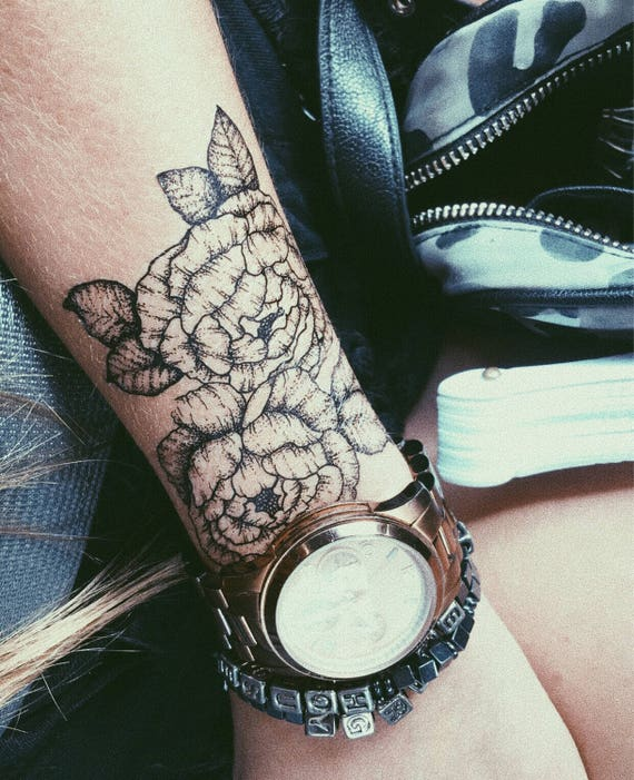 Medium Floral Peony Hand Drawn Temporary Tattoo