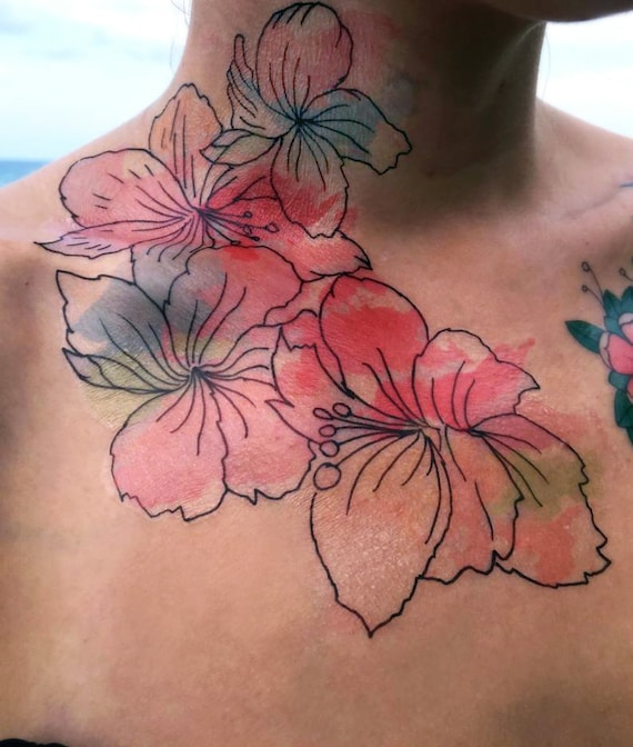 Hibiscus Watercolor - Temporary Tattoo - Large