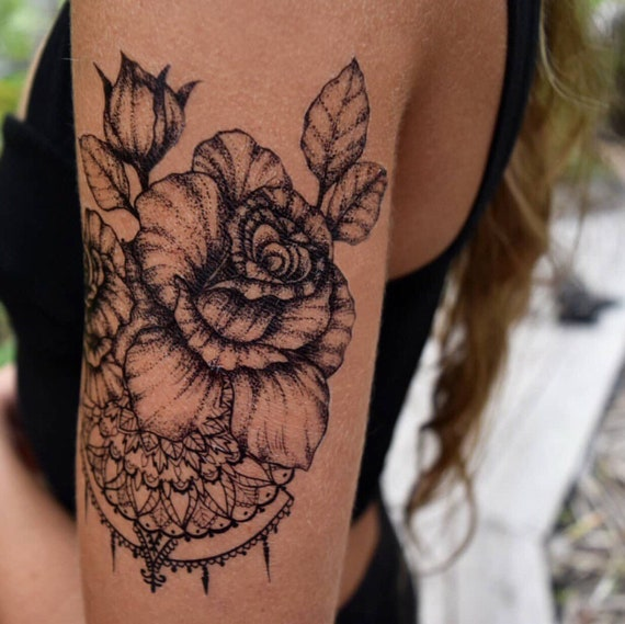 Floral Rose with Mandala Design Temporary Tattoo