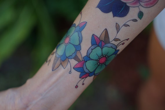 Turquoise Traditional Cherry Blossom Temporary Tattoo
