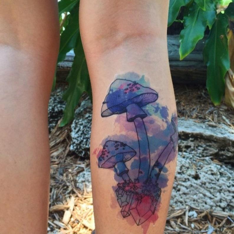 29b5503c8 Large Watercolor Mushrooms Hand Drawn Temporary Tattoo | Etsy