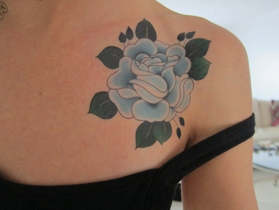 Light Blue Traditional Rose Temporary Tattoo