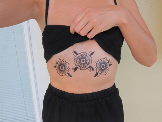 Black Roses Floral Temporary Tattoos - Set of 3