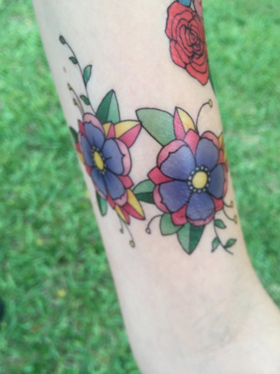 Cute Traditional Purple Girly Cherry Blossoms - Hand Drawn Temporary Tattoo