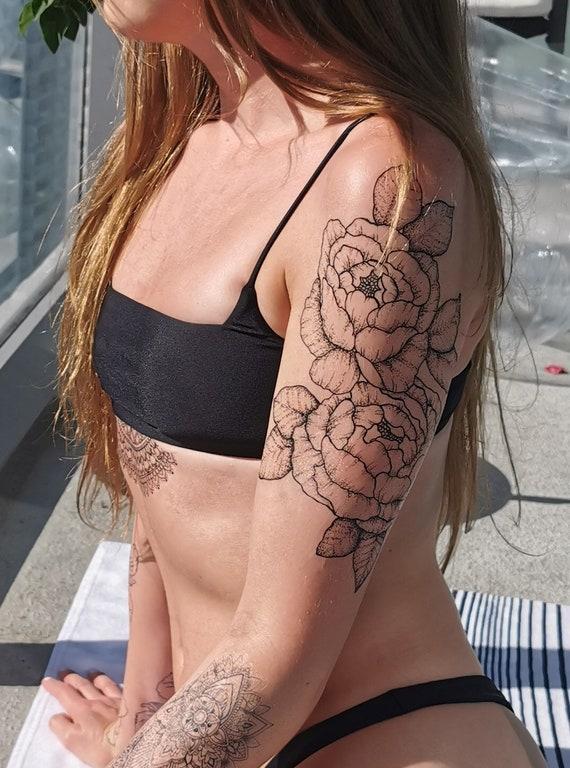 Large Peony Floral Temporary Tattoo Sleeve