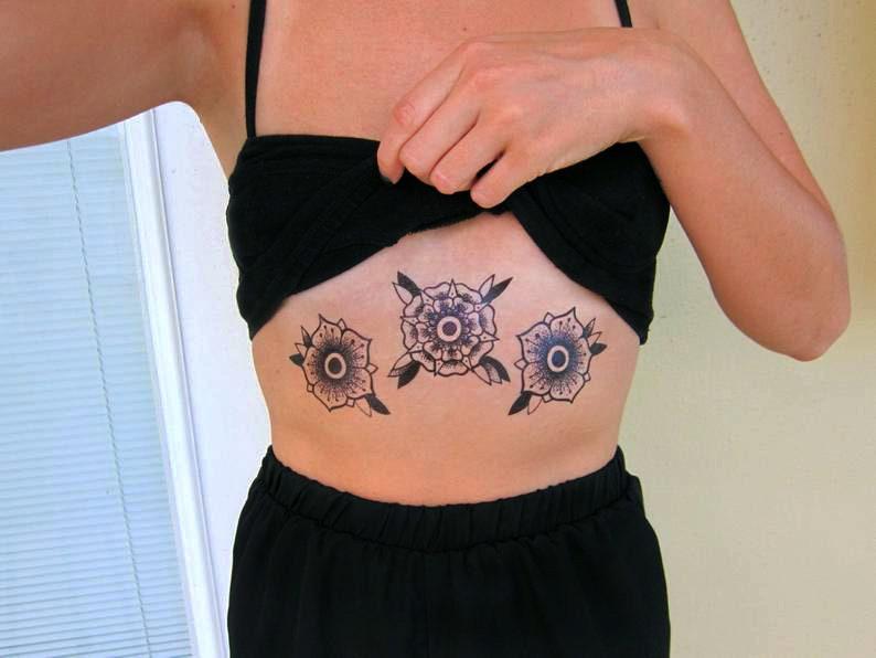 Black Roses  Temporary Tattoo  Set of 3 image 0