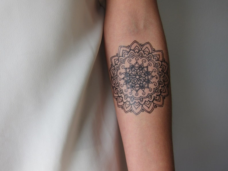 7fbb90a41 Medium Sized Mandala Hand Drawn Temporary Tattoo | Etsy