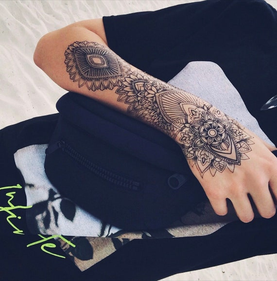 Extra Large Mandala Half-Sleeve Temporary Tattoo