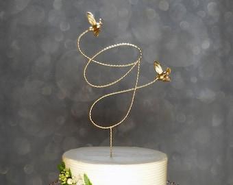 Gold Wedding Topper, Wire Cake Topper, Custom Initial Wire Wedding Cake Topper with Love Birds, Gold Cake Topper