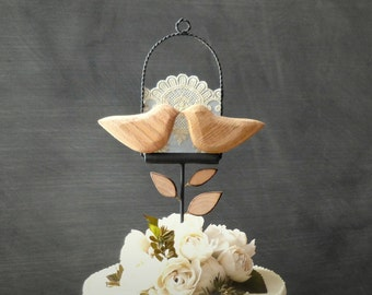 Lace and Love Birds Cake Topper, Natural Wood Wedding Cake Topper, Bird Wedding Topper, Love Bird Topper/ Bridal Topper