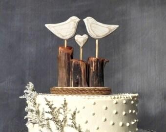 Love Birds Wedding Cake Topper, Bird Cake Topper/ White Wedding/ Wooden Anniversary Gift
