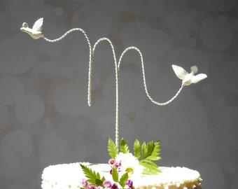 Initial Wedding Topper, Wire Cake Topper, Custom Wire Wedding Cake Topper with Love Birds, Cake Topper