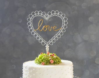 Heart Wedding Cake Topper Gold, Wire Cake Topper, Ivory and Gold Wedding Topper for Wedding Cake, Love Topper