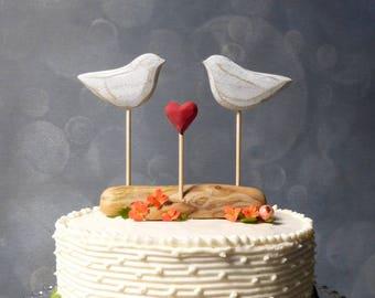 Rustic Wedding Cake Topper, Beach Cake Topper, Beach Wedding Decor, Love Birds Cake Topper, Wooden