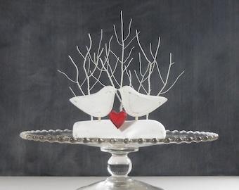 Dramatic White Wedding Cake Topper, Tree Wedding Topper with Love Birds, Cake Topper and White Wedding Decor