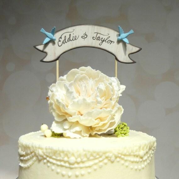 Custom Wedding Cake Topper Banner Cake Topper Names Cake | Etsy