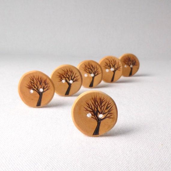 6 x 35 mm Vert Double Trou à motifs en bois Colombie Boutons