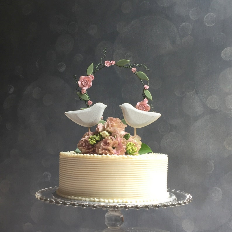 Pink Flower Wedding Topper Vintage Wedding Cake Topper Flower Cake Topper Hand Painted His Her Wedding Cake Pink Cake Topper