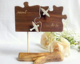 Natural Rustic Topper, Wooden Puzzle Piece Cake Topper, Love Bird Cake Topper, Beach Wedding Decor with Driftwood