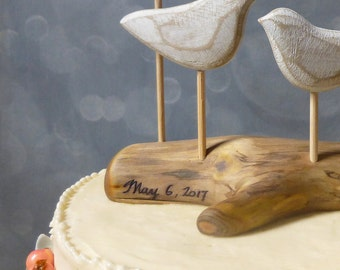 Custom Engraving,  Your Names OR Your Wedding Date on the Driftwood Base of your Cake Topper