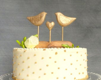 Gold Wedding Cake Topper with Love Birds, Gold Cake Topper, Rustic Bird Cake Topper/ Wooden Anniversary Gift