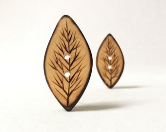 """Rustic, Pyrography Buttons/ Natural Wood Buttons, Eco Friendly, Extra Large Wooden Button 1.5"""" or 38mm  2 pce"""