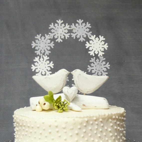 White Wedding Cake Topper Winter Cake Topper with Love | Etsy