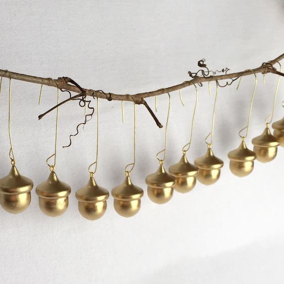 24 Gold Wedding Favors Wooden Acorn Decorations Miniature Tree Ornaments Gift Embellishment Or Bridal Favors