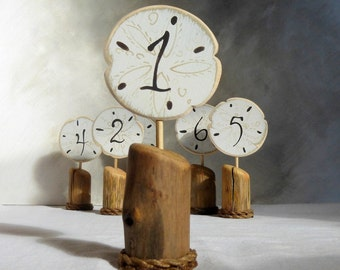 Beach Wedding Table Numbers Signs, Rustic Table Numbers, Beach Table Numbers, Sand Dollar Wedding Signs, Set of 6