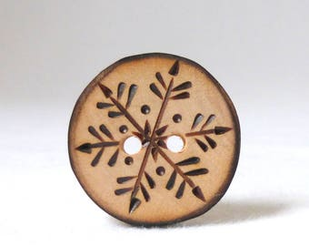 Wood Buttons, Snowflake Buttons, 1 Inch Wooden Buttons, Handmade Buttons  1 pce
