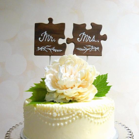 Herr Frau Wedding Cake Topper Holz Hochzeitstorte Puzzle Etsy