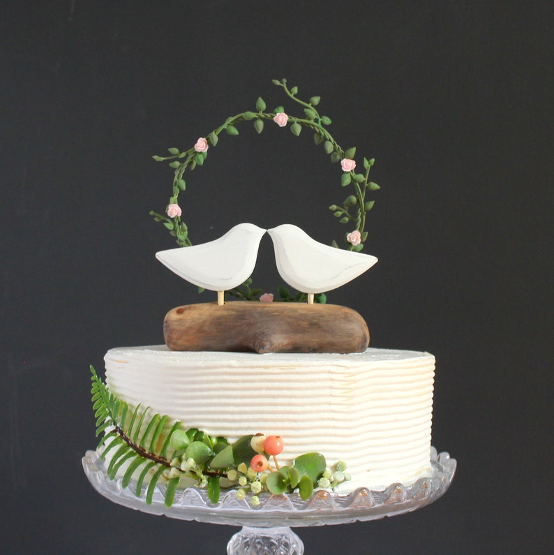 Wedding Cake Topper Green and Blush Pink Wedding Succulent Cake Topper with Blush Rose Arbor Pink Roses Cake Topper with Love Birds