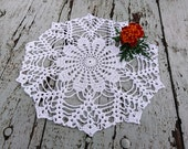 Crocheted cotton doily White doilies 13 quot table placemat centerpiece tableclothes round handmade housewares doilies idea ready to ship