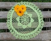 Green crochet doily tablecloth, round doily centerpiece, 13 quot size cotton doilies, crochet placemats, crocheted doilies, crochet doily napkin