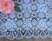 Crochet white linen table runner, crochet doily tablecloth, crochet large doily, lace table runner, rustic table centerpiece, table linen