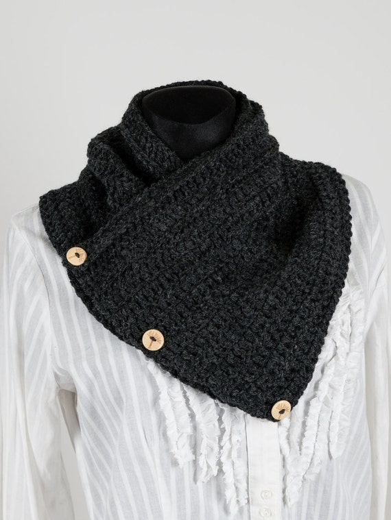 Charcoal gray Chunky Scarf wooden buttons Wrap Crochet